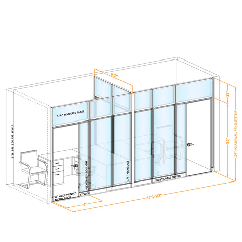 Glass Wall Office 107H T Shape