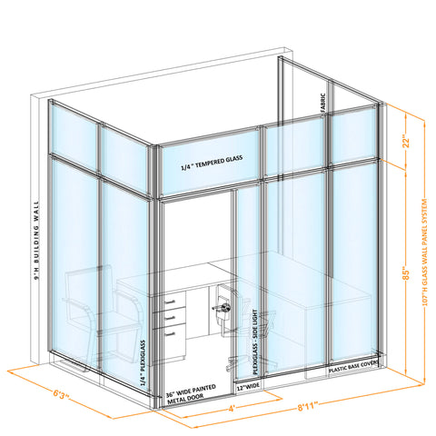 Glass Wall Office 107H U Shape