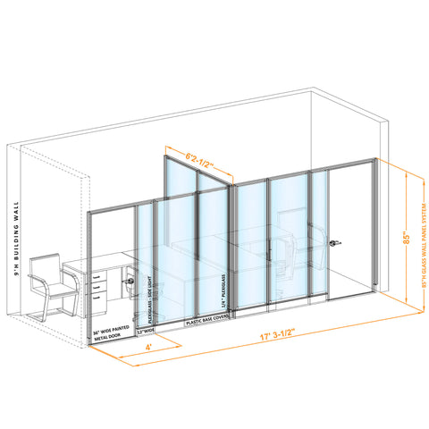 Glass Wall Office 85H T Shape