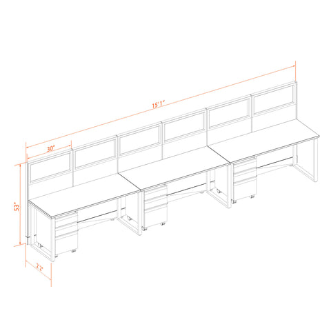 Office Benching Desks 53H 3pack Inline Glass Cluster Unpowered