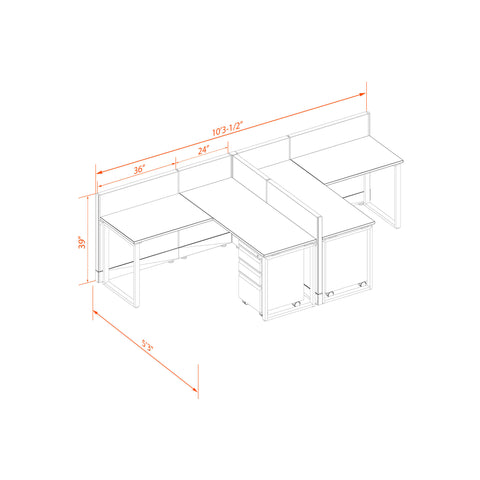 Office Benching Desks 39H 2pack T Cluster Unpowered