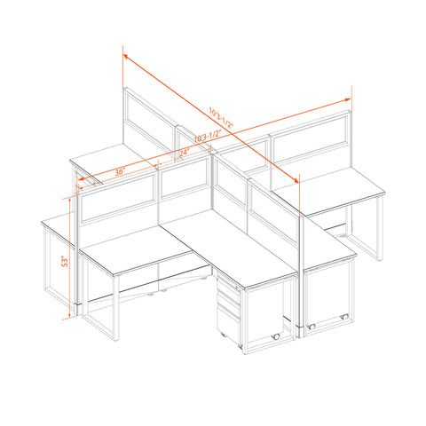 Office Benching Desks 53H 4pack X Cluster Glass Unpowered