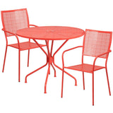 Panini 35.25 Inch Garden Bistro Table Set with 2 Chairs