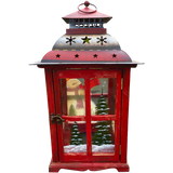 Holiday Candle Holder Lantern with Hand painted Christmas Snowman