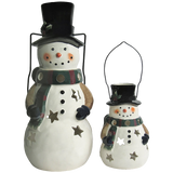 Holiday Snowman Candle Lantern - Solid Stoneware Christmas Statuary
