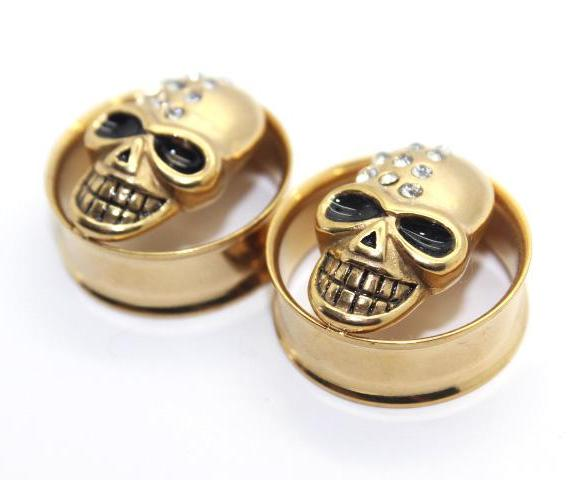 Gold Diamonte Skull Tunnel (Single) Stainless Steel Screw Thread - TrippyKitty