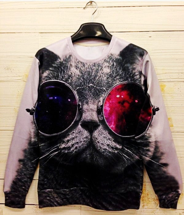 Trippy Funk Kitty Crew Neck Sweatshirt - TrippyKitty
