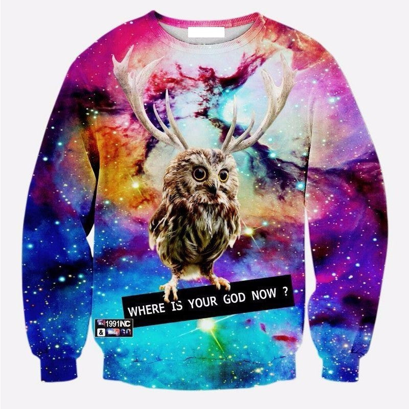 Where is your God Owl Crew Neck Sweatshirt - TrippyKitty