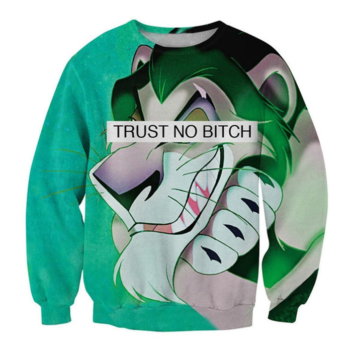 Trust no Lion Crew Neck Sweatshirt - TrippyKitty