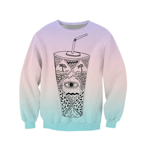 Take a sip of this Crew Neck Sweatshirt - TrippyKitty