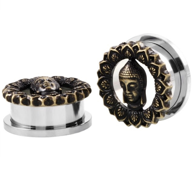 Buddha Tunnel (Single) Stainless Steel Screw Thread - TrippyKitty