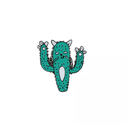 Cactus cat Pin Badge (Enamel) - TrippyKitty