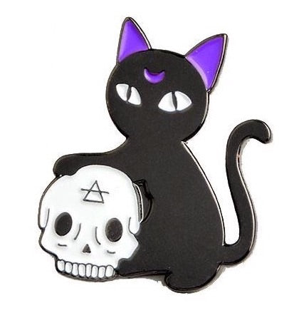 Black Cat Pin badge (Enamel) - TrippyKitty