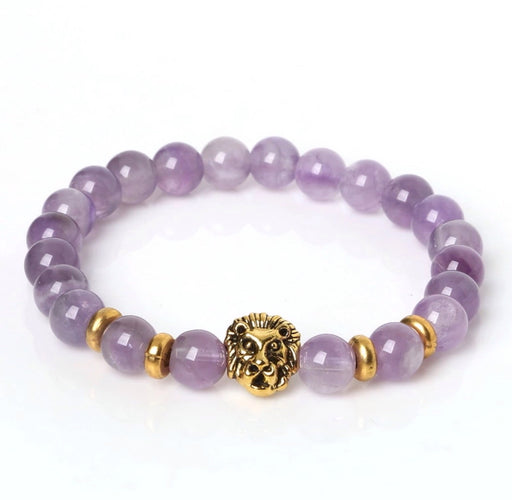 Amethyst With Gold Lion Bracelet - TrippyKitty