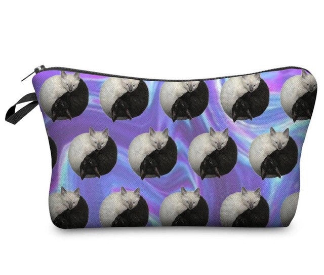 Cat Yin Yang Cosmetic Clutch Bag - TrippyKitty