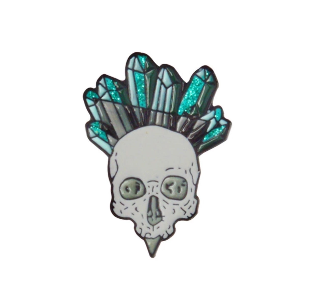 Crystal Skull 2 Pin Badge (Enamel) - TrippyKitty