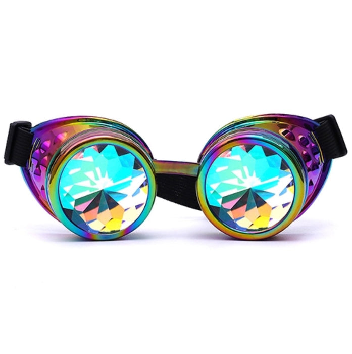Steampunk Goggles with Kaleidoscope Lenses no spikes (Multi) - TrippyKitty