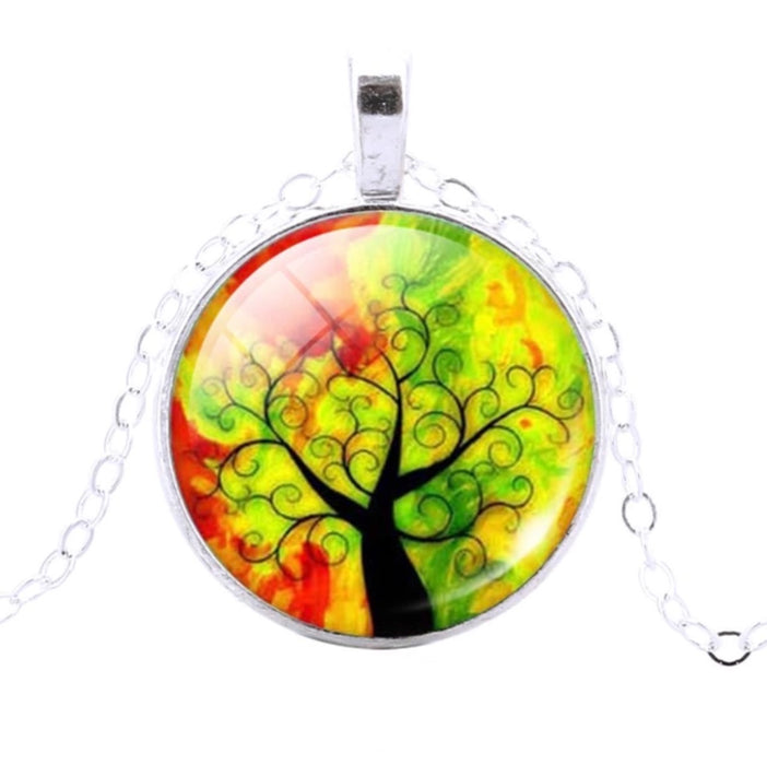 Tree Of Life Pendant (Red & Green) - TrippyKitty