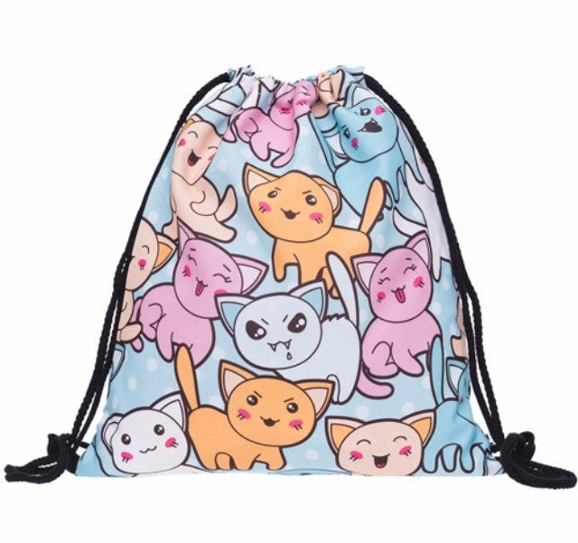 Multi Puss Drawstring Bag - TrippyKitty