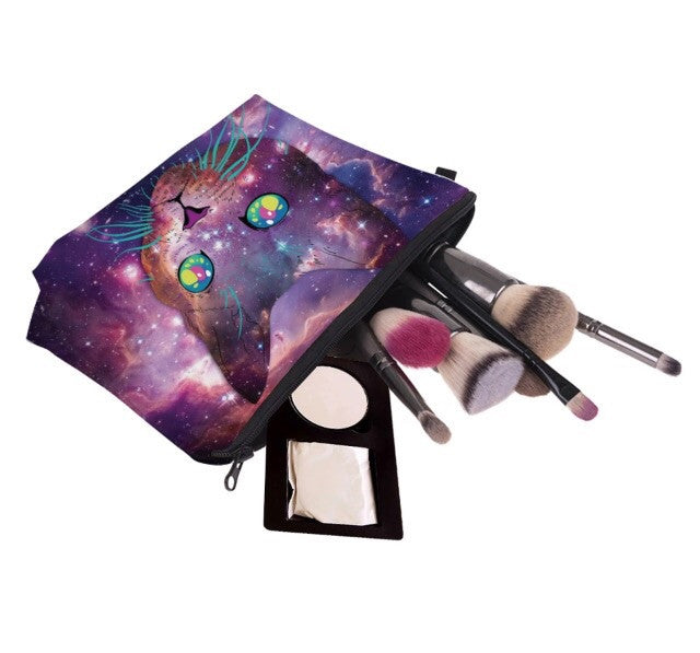 Cosmic Cat Cosmetic Clutch Bag - TrippyKitty