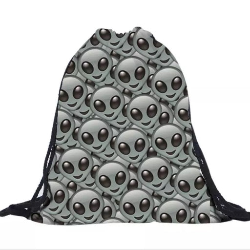 Alien emoji Drawstring Bag - TrippyKitty