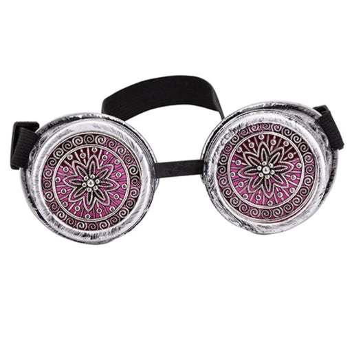 Steampunk Goggles with Mesh frame Lenses (Chrome) - TrippyKitty