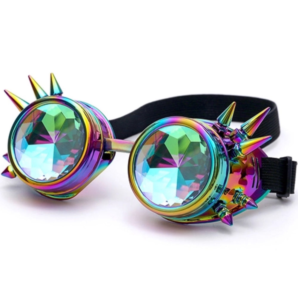 Steampunk Goggles with Kaleidoscope Lenses (Multi) - TrippyKitty