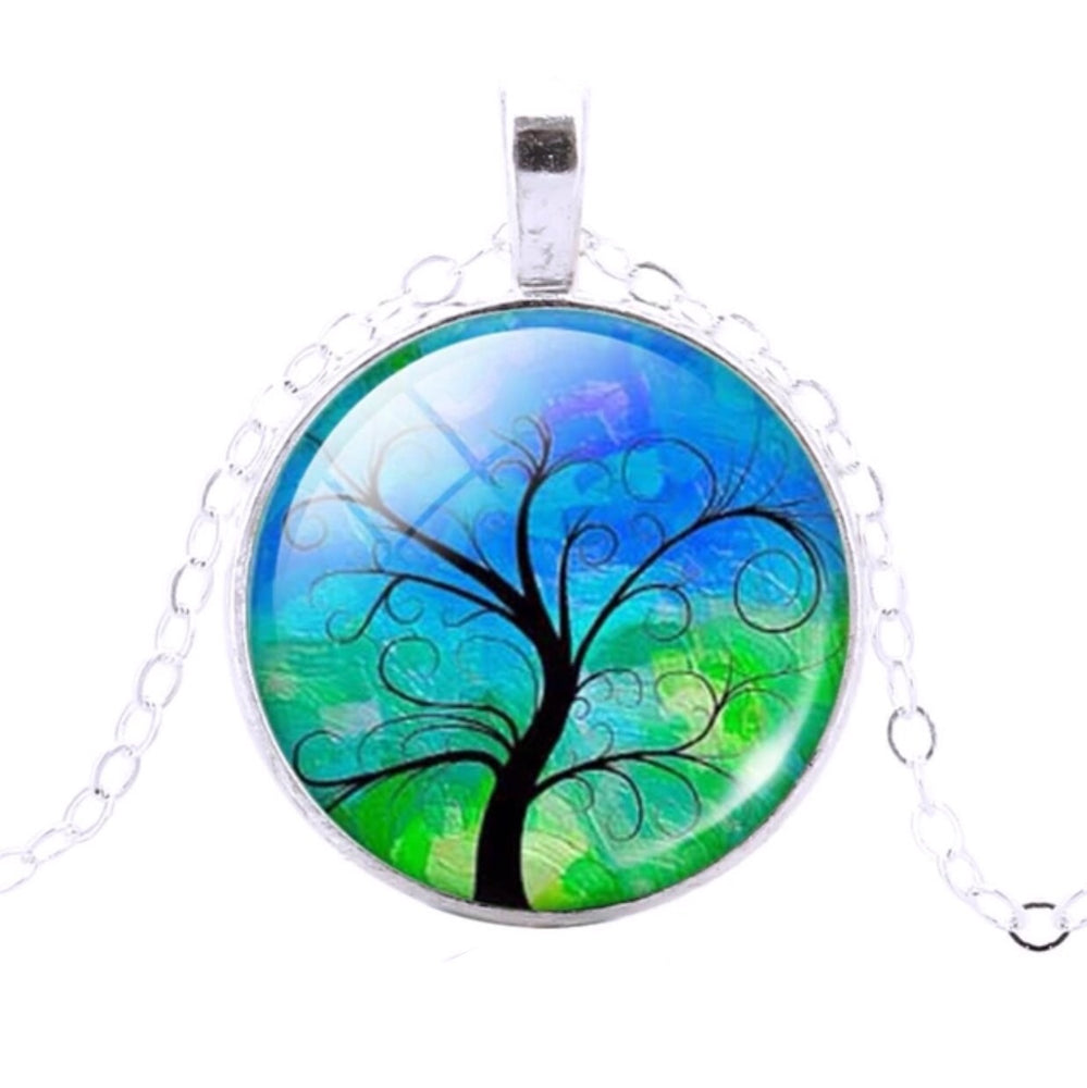 Tree Of Life Pendant (Blue & Green) - TrippyKitty
