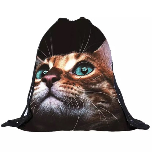 Curious Puss Drawstring Bag - TrippyKitty