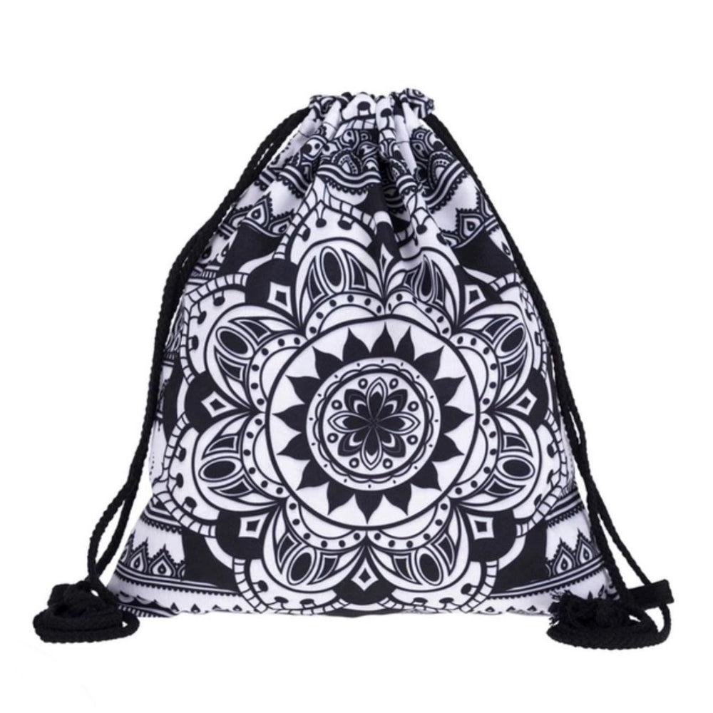Black Mandala Drawstring Bag - TrippyKitty