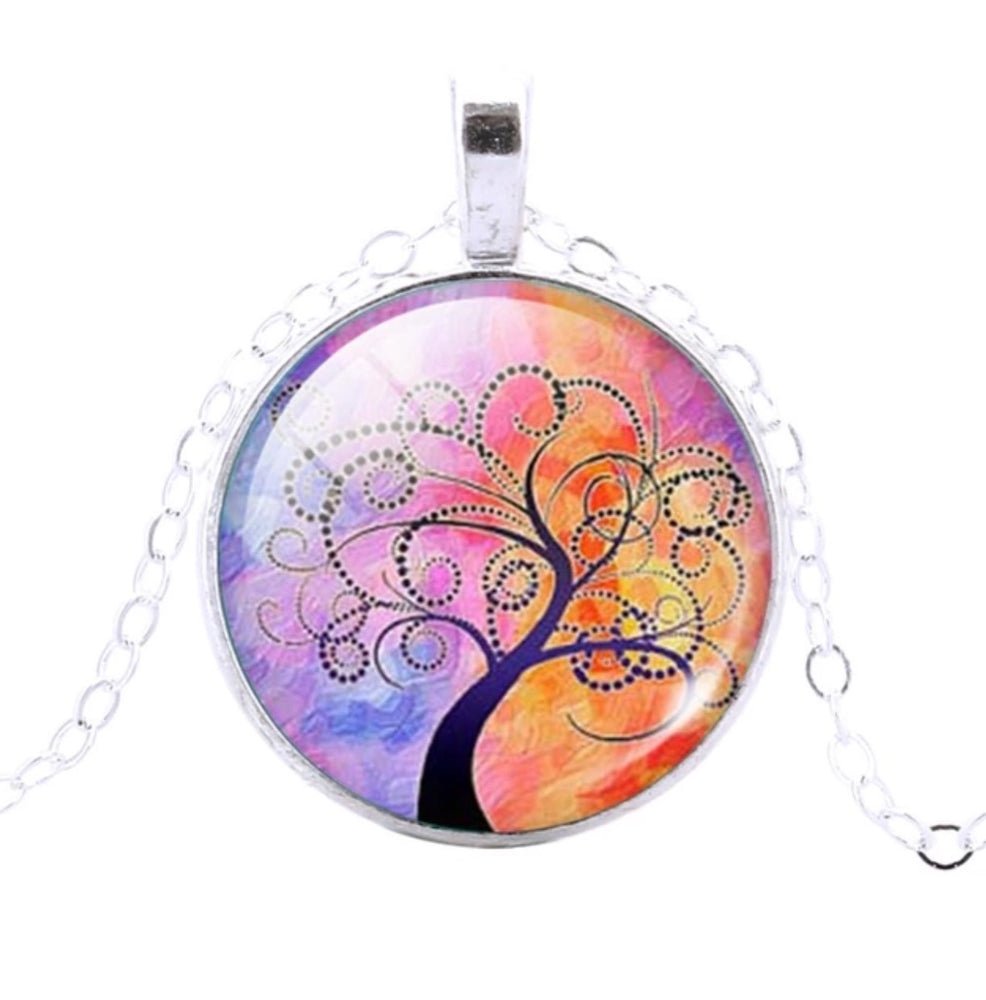 Tree Of Life Pendant (Lilac & Orange) - TrippyKitty