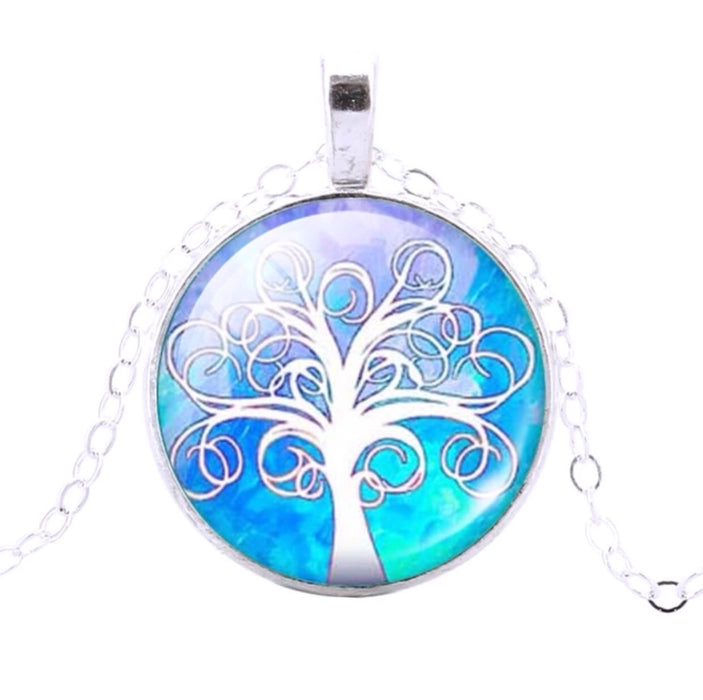 Tree Of Life Pendant (Blue & White) - TrippyKitty