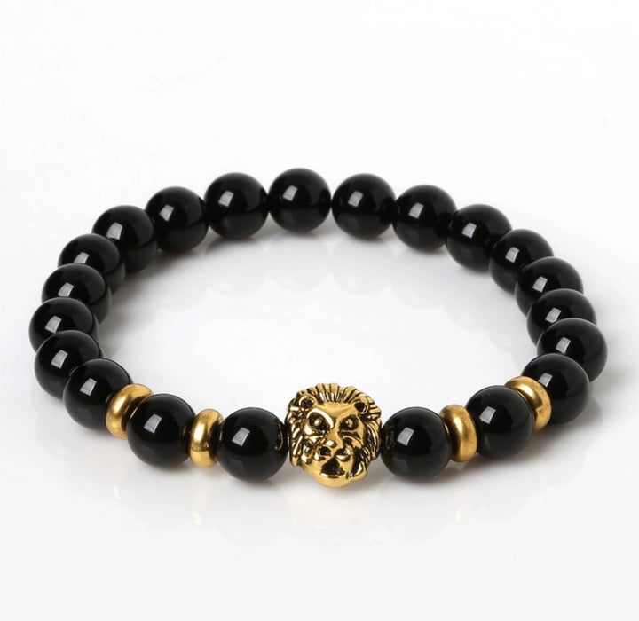 Black Onyx Lion Bracelet - TrippyKitty