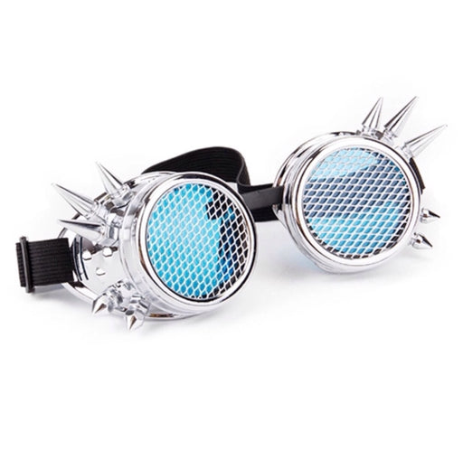 Steampunk Goggles with Mesh frame Lenses (Chrome)