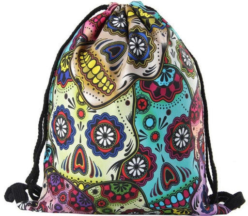Sugar Skull Drawstring Bag - TrippyKitty