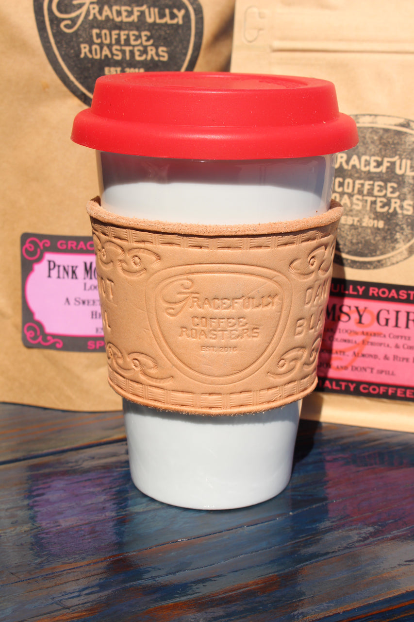 Reusable Travel Mug with Custom Leather Sleeve