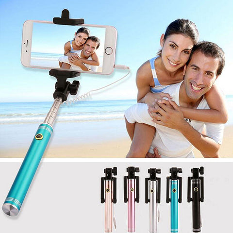 2017 Aluminum Alloy Folding Wired Sefie Stick For IOS and Android