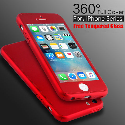 FREE iPhone 5 5S SE 6 6S 7 Plus Slim Full Body Cover+Glass Screen Protector