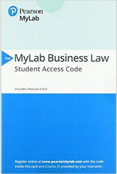 2017 MyLab Business Law with Pearson eText -- Access Card -- for Business Law