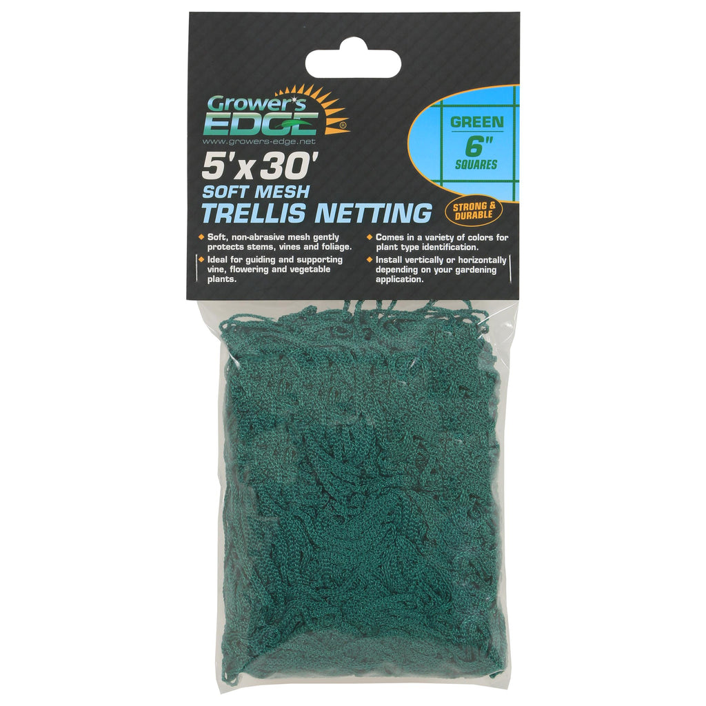 Grower's Edge Soft Mesh Trellis Netting 5 ft x 30 ft w/ 6 in Squares - Green (12/Cs)
