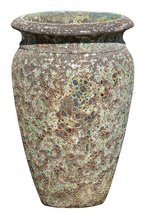 Rust Green Pottery - Rimmed Urn