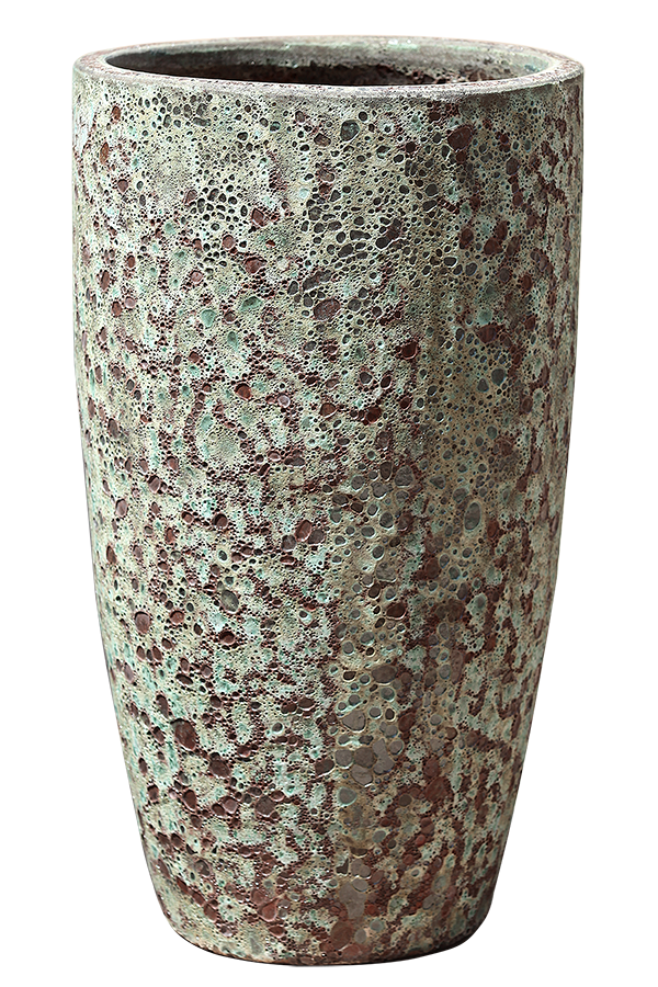 Rust Green Pottery - Tall Rounded Cylinder