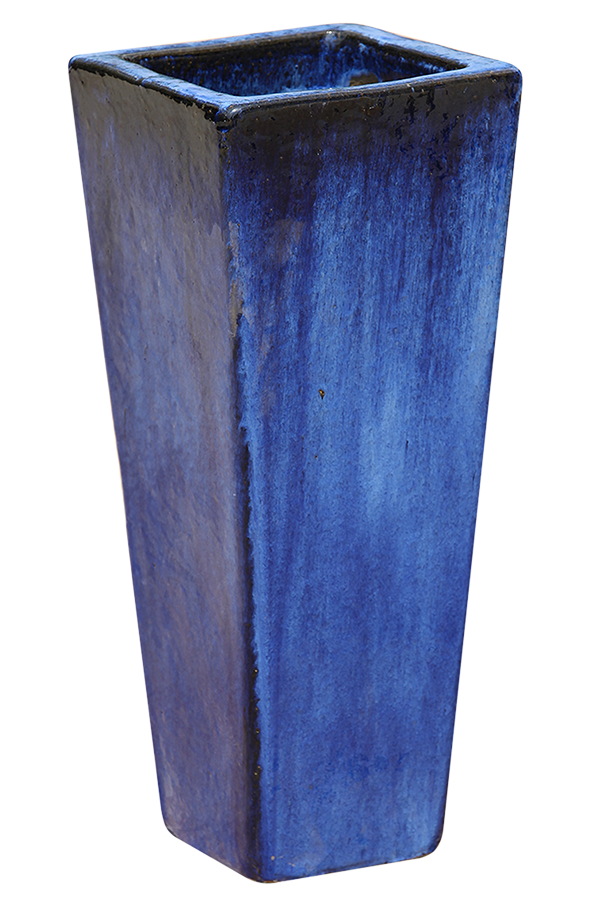 Reactive Blue Pottery - Tall Square Cylinder