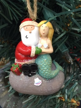 Santa and a Mermaid Ornament