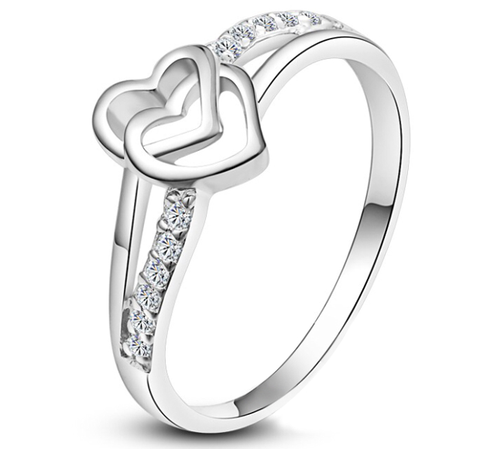 Europe Style Love Double Heart Ring