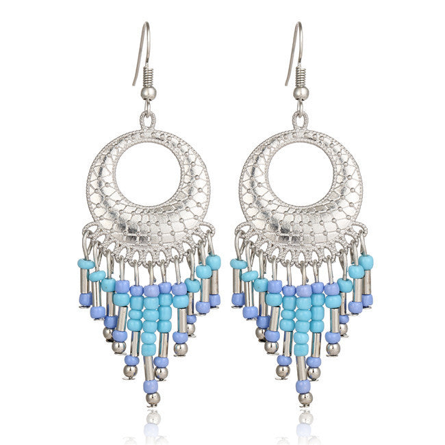New Charm Indian Ethnic Bohemian Silver Plated Long Earrings