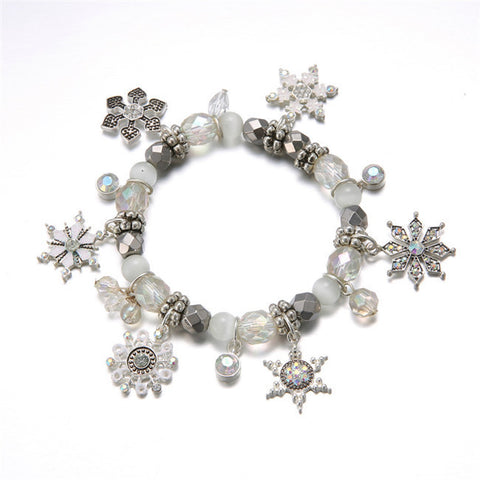 Fashion Crystal Bracelets & Bangles for Women 3 Colors Boots Snow Flower Beads Bell Charm  14I1AD030Clear