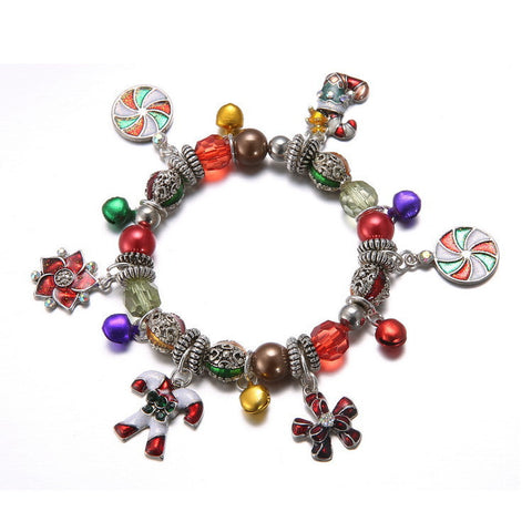 Fashion Crystal Bracelets & Bangles for Women 3 Colors Boots Snow Flower Beads Bell Charm  14I1AD030Red