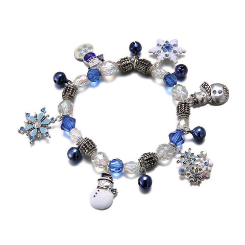 Fashion Crystal Bracelets & Bangles for Women 3 Colors Boots Snow Flower Beads Bell Charm  14I1AD030Blue