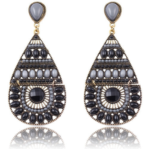 New Fashion Earrings Vintage Ethnic Style Colorful Bohemian Beads Stud Earrings Jewelry for Women  Black 12L24